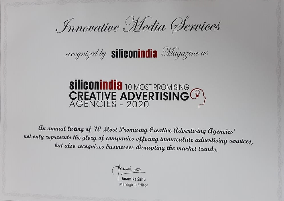 """We are awarded """"10 Most Promising Creative Advertising Agencies' By Silicon India"""